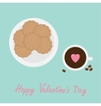 Biscuit cookie cracker on the plate Cup of coffee vector image