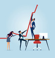business people pushing a business graph upwards vector image vector image