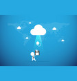 businessman send floppy disk to the cloud backup vector image