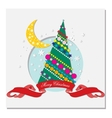 card with Christmas tree and crescent moon vector image