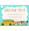 Certificate design with children and schoolbus vector image