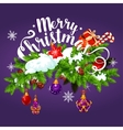 Christmas garland with gift greeting card design vector image