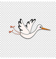 clip art or sticker of cute flying stork on vector image