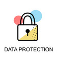 closed lock icon for data protection flat design vector image vector image