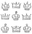 crown various style doodle style vector image vector image