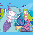 cute mermaids women with plants and fishes vector image vector image