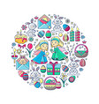 easter elements arranged in circle angel vector image