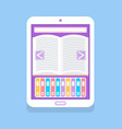 eelectronic book with open page and arrows icon vector image