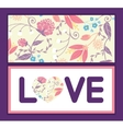 fresh field flowers and leaves love text vector image