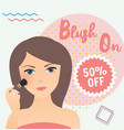 girl wearing using blush on in her face sale vector image vector image