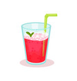 glass of fresh raspberry cocktail with drinking vector image