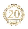 Golden emblem of twentieth years anniversary in vector image vector image
