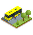 isometric yellow city bus at a bus stop man in a vector image vector image