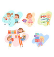kids shopping children playing in grocery market vector image