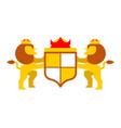lion and shield heraldic symbol leo sign animal vector image vector image