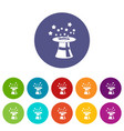 magic hat with stars set icons vector image vector image