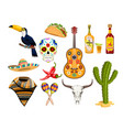 mexican symbol icons cartoon isolated vector image