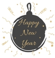 New year card with black ball and gold glitter vector image