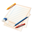 Paper crayons pencils vector image