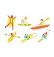 people outdoors activities set skydiving surfing vector image