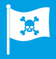 pirate flag icon white vector image vector image