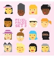 Pixel art style 15 cartoon faces set 2 vector image vector image