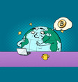 planet character reads the news on bitcoin vector image vector image