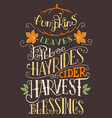 pumpkins leaves fall hay rides typography sign vector image
