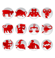 Red zodiac signs vector image vector image