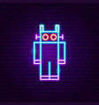 robot neon label vector image