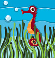 Seahorse swimming under the ocean vector image vector image