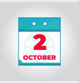 second 2 october flat daily calendar icon vector image vector image