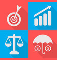 set business icons in a flat vector image vector image
