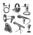 set recorder microphone and headphones for vector image