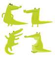 set with happy fun crocodiles cartoon vector image vector image