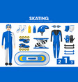 skating sport equipment skater racer clothing vector image vector image
