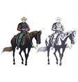 stock cowboy at horse vector image vector image