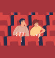 surprised interested young man boys at movie vector image