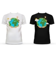 T-shirt with picture of hands holding earth vector image vector image