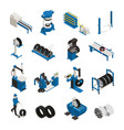 tire production isometric icons vector image vector image
