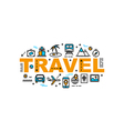 Travel and vacation thin line flat style banner