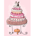 wedding cake cartoon vector image vector image