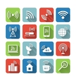 Wireless Communication Network Icons Set vector image vector image