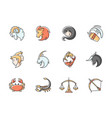 zodiac signs rgb color icons set vector image