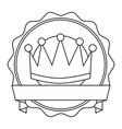 crown badge banner ribbon decoration vector image