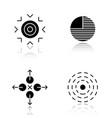 abstract symbols drop shadow black icons set vector image vector image