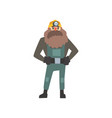 bearded miner standing with arms akimbo vector image vector image