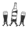 beer bottle glass cups walks on its feet sketch vector image vector image