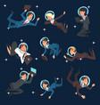 business people in astronaut helmets flying in vector image