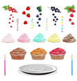 cake with cream berries sugar candy vector image vector image